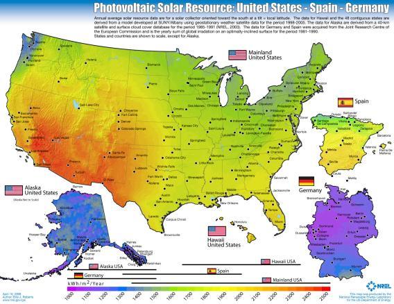 vergelijking zonnekracht US en Duitsland